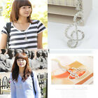 New Lady Women Gold Crystal Music Note Rhythm Long Chain Sweater Necklace Pendan
