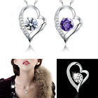 New Fashion Girl Silver White Chain Necklace With Heart Pendant Crystal Wedding