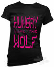 80s t shirt,slogan,hungry like the wolf,fancy dress,