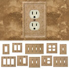 Tumbled Travertine Faux Textured Stone Noce Resin Switch Wall Plate Outlet Cover