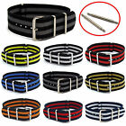 Thread-Through Military Watch Band Striped Webbing Choice of colours/sizes