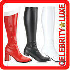 New Ladies Gogo PVC Faux Leather Boots Fancy Dress Costume Party