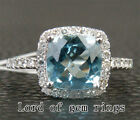 Cushion Cut 8x8mm Aquamarine and Diamonds 14K White Gold Engagement Wedding Ring