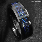 8 6mm Tungsten Carbide Ring Black Celtic Dragon Blue carbon fibre Mens Jewelry