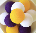 20 VIVID COLORFUL COTTON BALL STRING LIGHTS CE UL - BEDROOM PATIO PARTY
