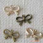 4pcs: Metal Ribbon Bow Charms Connectors Pendants w/ Holes Accessory DIY
