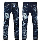 New Mens Italy Style *Vintage Girl Face Pattern Printed Slim Blue JEANS V314C