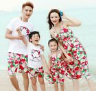 Summer Family outfits Casual Red Flower woman girls Red Vest Dress Man boys set