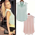 2015 Women's Sleeveless Button Chiffon Tops Shirt Blouse Vest Casual Pink/Green