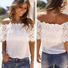New Fashion Women's Off Shoulder Casual Tops Blouse Lace Floral Chiffon T Shirt