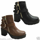 LADIES ANKLE WOMEN MID BLOCK HEEL GIRLS CHUNKY ANKLE BIKER CHELSEA BOOTS SHOES