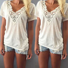 Women Short Sleeve Blouse Fashion Summer Vest Top Casual Tank Tops T-Shirt Lace