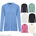 LADIES WOMENS KNITTED ARAN STYLE CLASSIC FINE WARM OPEN BUTTON THROUGH CARDIGAN