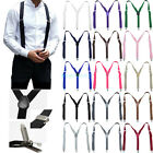 Mens Womens Solid Clip On Elastic Y-Shape Adjustable Suspenders Classic Braces
