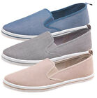 MAD WAX CHAMBRAY TWIN GUSSET BEIGE/NAVY/GREY SHOES- RRP £29.99- OUR PRICE £17.99