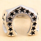 Men's Lucky 13 Stars Horseshoe Stainless Steel Biker Motorcycle Ring Size 9-13
