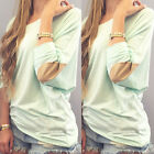 Fashion Womens Patch Long Sleeve Pullover Blouse Casual Loose Shirt Tops Blouse