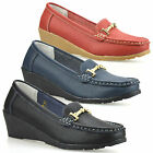 Ladies Womens Low Wedge Heel Leather Casual Slip On Loafers Office Shoes Size