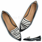 AnnaKastle New Womens Calf Hair Point Toe Loafer Flat Shoes Zebra US 5 6 7 8