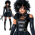 Ladies Halloween Miss Scissorhands dressing up costume & wig party adult sexy