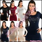 Sexy Women's Sequin Jumper Dress Ladies Pullover Sweater One Size 6,8,10,12 UK