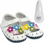Girls Toddler Leather Soft Sole Baby Shoes Sandals White & Flowers & Shoe Horn