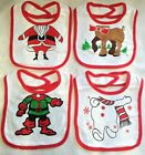 Baby Boys Girls Cotton Christmas Bibs Santa Snowman Reindeer Elf Gift  Pack of 4