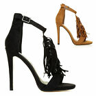 New Ladies Womens Cut Out High Heel Ankle Fringe Tassel Gladiator Sandals Shoes