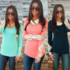 Fashion Womens Lace Sleeve Casual Tops Blouse Ladies Long Sleeve Cotton T Shirt