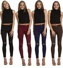 SALE New Women Ladies Skinny High Waisted Knee Ripped Cut Tube Jeans Jeggings