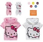 Hello Kitty Girl Zipper Hoodie Short Sleeve Top T-shirt +Pants Kid Sports Outfit