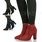 New Womens Ladies Block High Heel Ankle Boots Booties Pointed Shoe Size 3-8