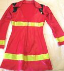 Preowned Womens Leg Avenue Sexy Fireman Firewoman Red Shiny Costume Size S M
