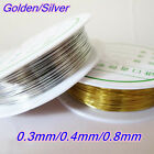 1 Roll DIY Gold Silver Copper Wire String Beading Jewelry Making Craft 0.3-0.8mm