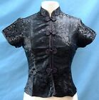 Traditional Chinese Style Brocade Blouse Black Dragon Pattern w/Color Piping