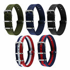 18/20/22mm Military Army Wrist Nylon Watch Band Strap Black 4 Ring+90d Warranty
