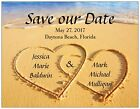 30 50 70 100 Personalized HEARTS ON The BEACH Save DATE 5.5 x 4 MAGNETS & Env