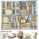 29Pcs Set Dollhouse Miniature Unpainted Wooden Furniture Suite 1 24 Scale Model