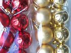 Gold Red 40mm Christmas Tree Baubles Matt & Shiny with Glitter Snowflake Bagged