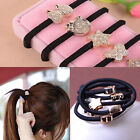 10pcs Style 5mm Gold Plated Black Elastic Ponytail Accessories For Girls Women