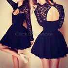 Lady Women Sexy Bodycon Backless Long Sleeve Lace Evening Party Prom Mini Dress