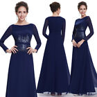 Women's Sequins Elegant Round Neck Long Sleeve Evening Formal Dress 08635