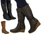 NEW WOMENS LADIES MID CALF WEDGE BUCKLE ZIP COMFY WORK CASUAL BOOTS SHOES SIZE