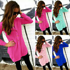 Casual Womens Blouse New V-neck Long Sleeve Ladies Top T-shirt Loose Short Tops