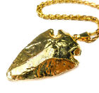 Arrowhead Necklace - Natural Stone Pendant (L31) Gold Plated - Raw Carved Stones