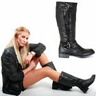 WOMENS LADIES BLACK LOW FLAT HEEL KNEE CALF WINTER RIDING BIKER ZIP BOOTS SIZE