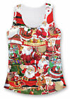 Santa Claus Father Christmas Girls Vest Top Scoop Neck Sleeveless Hips Length