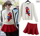 New spring women yarn parrot rabbit hair sweater tops T-shirt red pleated skirt
