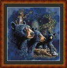 BLACK BEARS(2 )-PDF/PRINTED X STITCH CHART 14/18 CT ARTWORK © STEVEN GARDNER