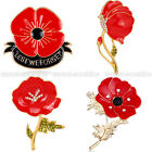 """New Bridal """"Lest We Forget"""" Enamel Poppy Brooch Badge Pin Remembrance Day Gifts"""